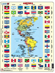 Larsen Karte/Flaggen - Amerika