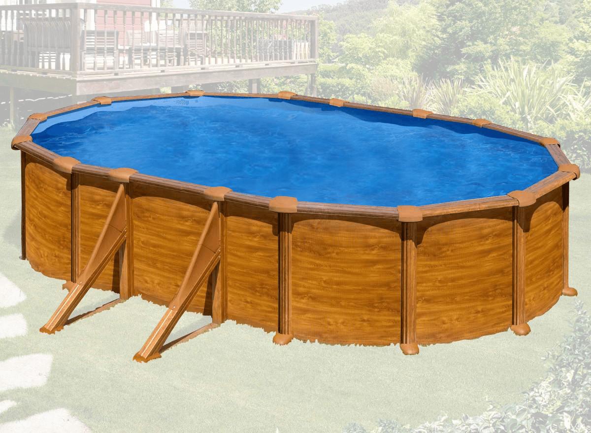 Gre KITPROV618WO- Piscina Mauritius desmontable ovalada de acero decoración madera 610x375x132 cm