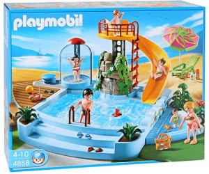 Playmobil piscine avec toboggan 4858 au meilleur prix for Piscine avec terrasse playmobil