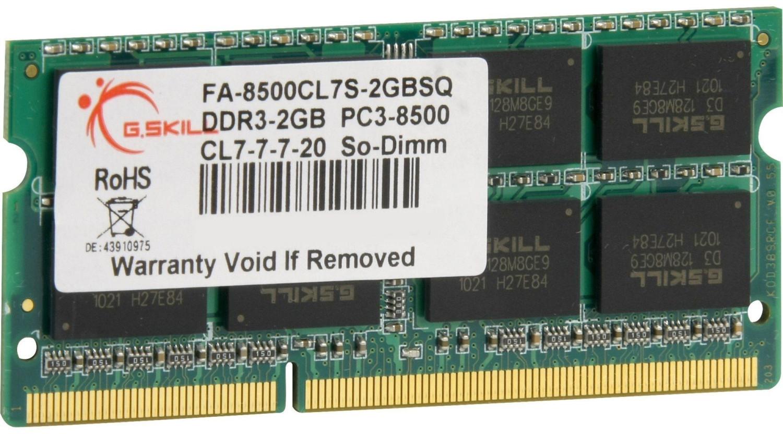 Image of G.SKill 2GB SO-DIMM DDR3 PC3-8500 CL7 (FA-8500CL7S-2GBSQ)