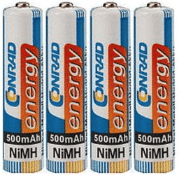 Image of Conrad Energy 4x Akku 1,2V Micro AAA NiMH 500mAh (250185)