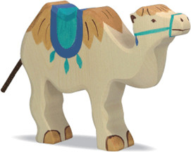 Holztiger Kamel mit Sattel