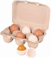 Beluga 6 Holzeier im Eierkarton