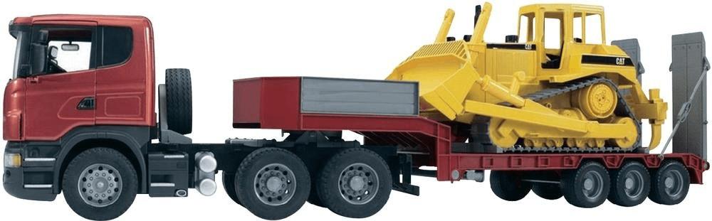 Bruder Scania R-Serie LKW mit Tieflader und Caterpillar Bulldozer (03555)