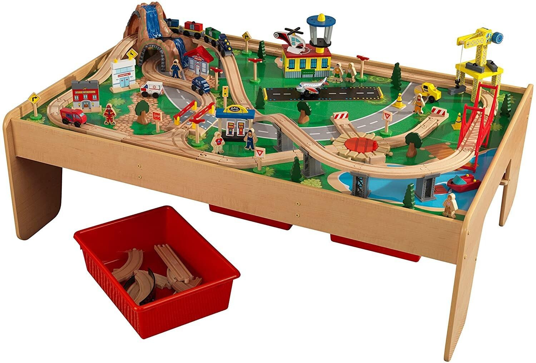 KidKraft Eisenbahnset & Spielplatte mit Berg und Wasserfall 120 teilig