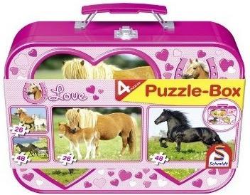 Schmidt-Spiele Pferde Puzzle-Box im Metallkoffe...