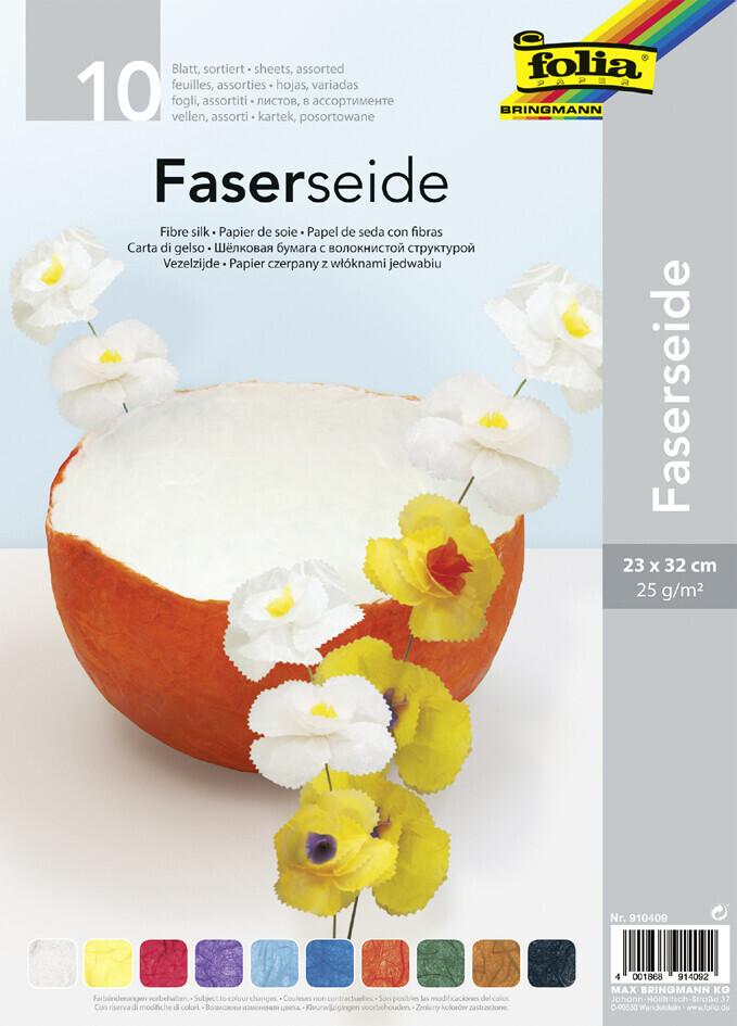 Folia Faserseide 23x32cm 10 Blatt sortiert (910409)
