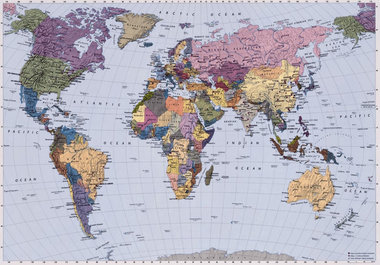 Komar Fototapete World Map 4-tlg. (270 x 188 cm)
