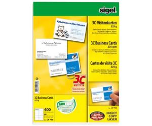 sigel Visitenkarten 3C 85 x 55 mm 225 g//qm hochweiß 400 Visitenkarten