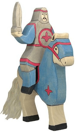 Holztiger Ritter reitend blau