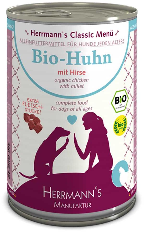 Herrmanns Hundefutter Bio-Menü Huhn, Hirse & Gemüse (400 g)