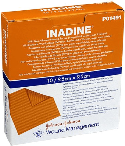 Systagenix Inadine Salbengaze mit PVP-Iod 9,5 x 9,5 cm (10 Stk.)