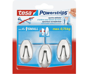 Tesa Powerstrips Small Oval Chrom 3 Haken 4 Strips Small Ab 420