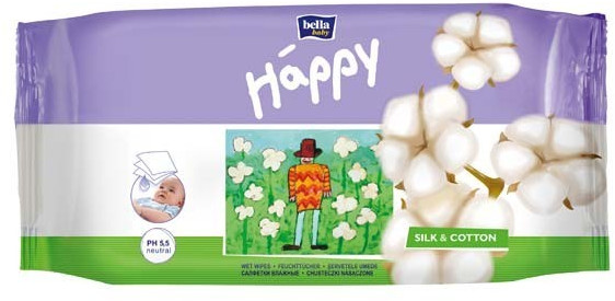 Bella Baby Happy Feuchttücher Seide + Baumwolle 72 Stück