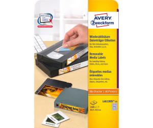 AVERY Zweckform L6022REV-25 Etiketten f/ür Data Cartridges wei/ß A4, 2.400 St/ück, 63,5 x 8,5 mm, 25 Blatt