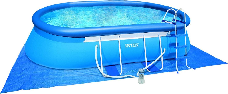 Intex Oval Frame Pool 549 x 305 x 107 cm mit Ka...