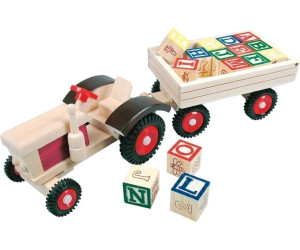 Bino Traktor mit 15 ABC-Würfel Holz-Spielzeug kippbar Ladung farbig Anhänger Bauernhof