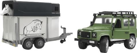Bruder Land Rover Defender mit Pferdeanhänger (2592)