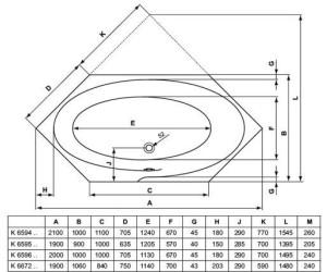 Ideal Standard Dynamic Sechseck-Badewanne 190 x 106 cm (K6672) ab ... | {Sechseck badewanne maße 55}