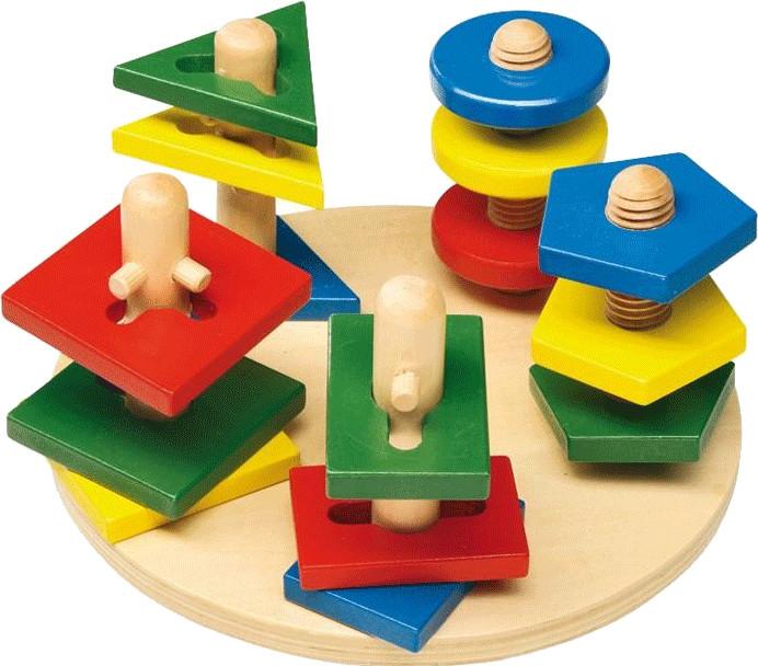 Mertens Schaukel-Steckpyramide bunt 7 Ringe 18cm Holz 81034 Motorikspielzeug