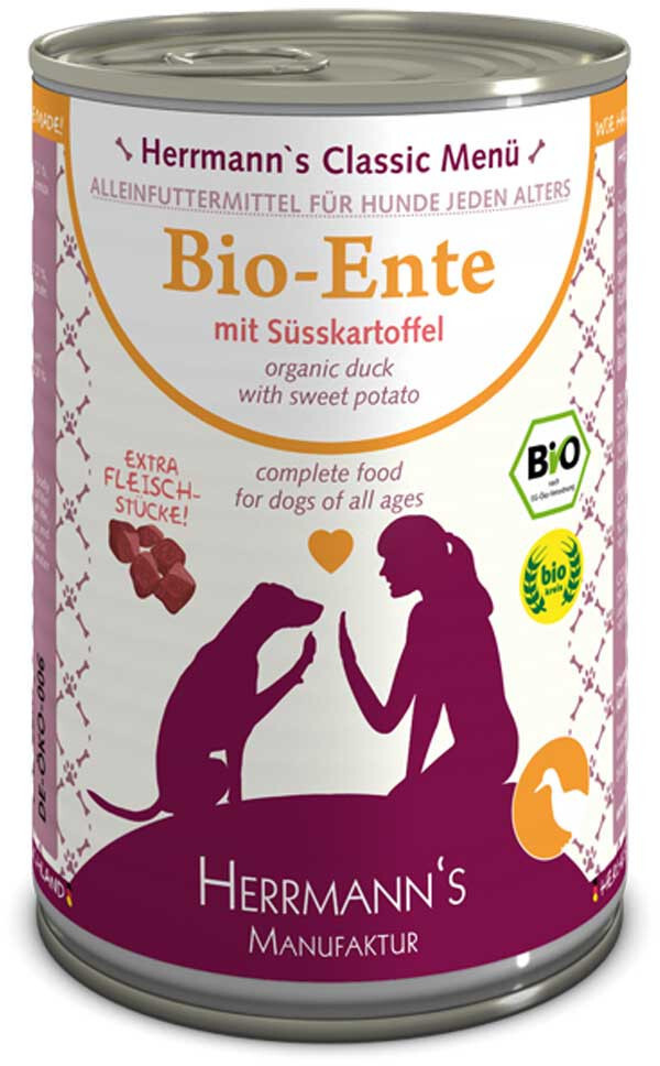 Herrmanns Hundefutter Bio Ente mit Süßkartoffel...