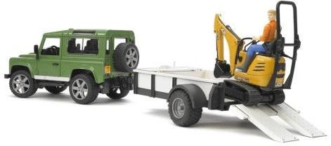 Bruder Land Rover Defender Station Wagon mit Einachsanhänger, JCB Mikrobagger 8010 CTS und Bauarbeiter (02593)
