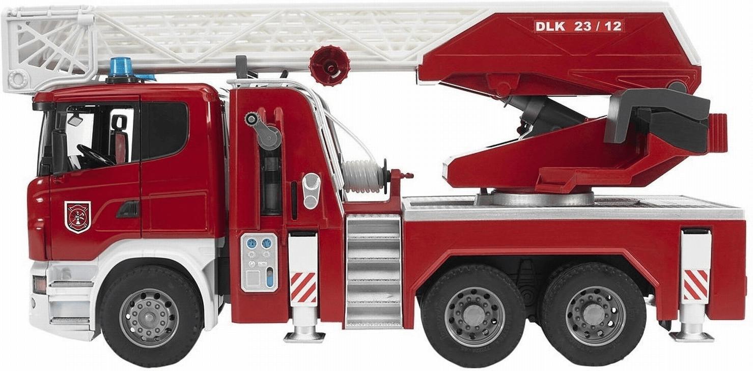 Bruder Scania R-Serie Feuerwehrleiterwagen mit Wasserpumpe und Light and Sound Module (03590)