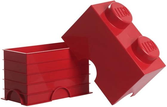 LEGO Aufbewahrungsstein mit 2 Noppen rot