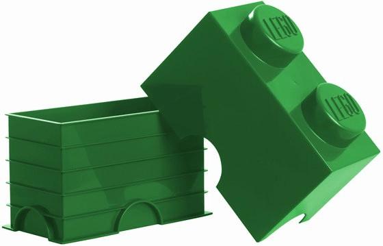 LEGO Aufbewahrungsstein mit 2 Noppen grün