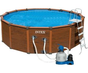 intex wood grain frame pool 478 x 124 cm mit sandfilter. Black Bedroom Furniture Sets. Home Design Ideas