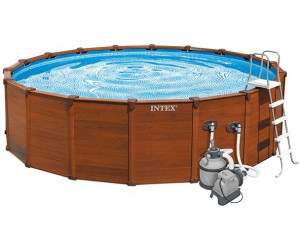 Intex wood grain frame pool 478 x 124 cm mit sandfilter for Aufstellpool angebote