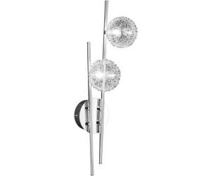 2-fl Glas mit Drahtgeflecht Wofi-Leuchten Wandleuchte Chrom