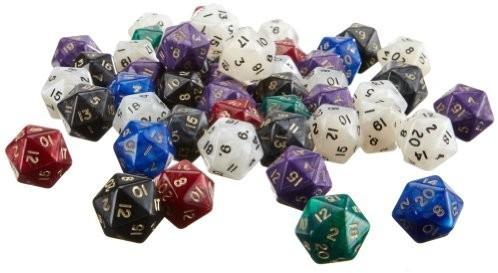 Philos-Spiele Würfel 20-seitig pearl 50er Beutel (7760)