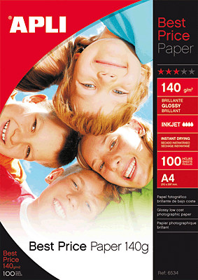 Image of APLI Best Price Glossy Photo Paper, A4, 140gsm