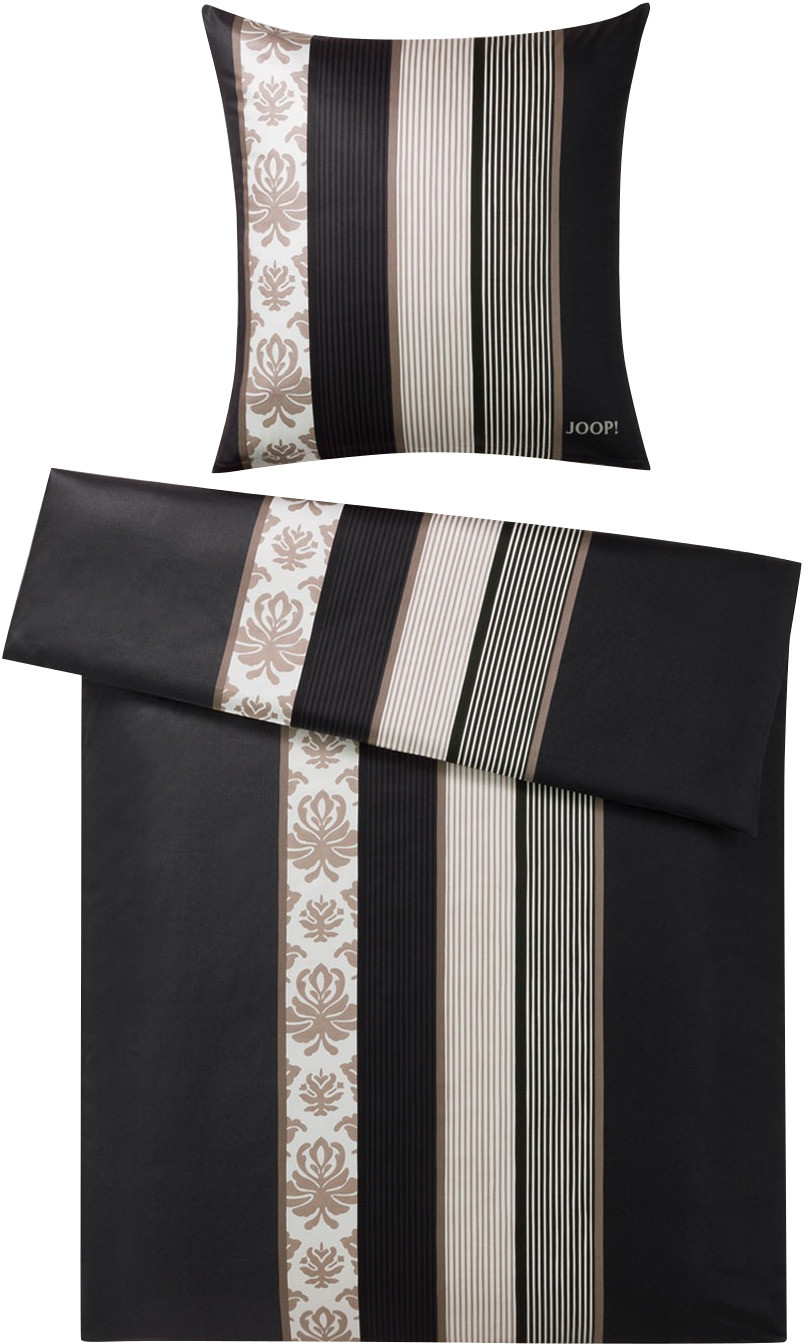 Joop! Ornament Stripe 80x80+155x220cm schwarz