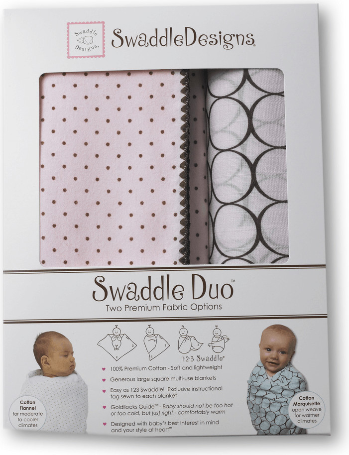 Swaddle Designs SwaddleDuo Modern Duo, Pastel Blue, 2 Count