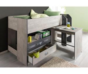 Parisot lit mezzanine fabric avec bureau au meilleur prix sur