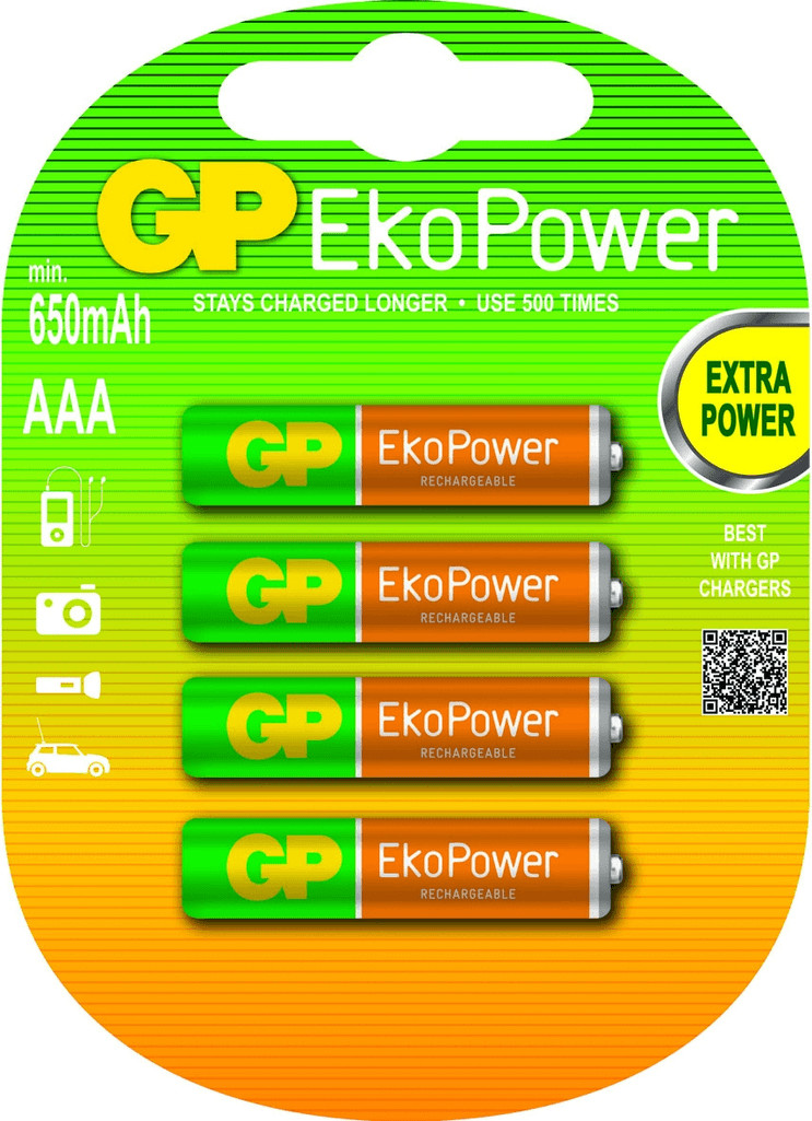 Image of GP EkoPower Pre-charged Rechargeable AAA HR03 1,2V 630 mA (4 St.)