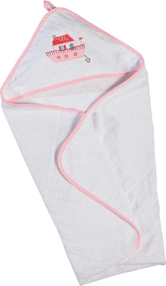 Hansekind Kapuzenhandtuch Hausboot rosa