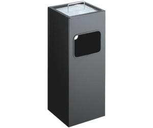 Atlanta Square metal bin with Ashtray (19 L) black