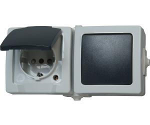 kopp schalter steckdosen kombination grau 138656001 ab 5. Black Bedroom Furniture Sets. Home Design Ideas