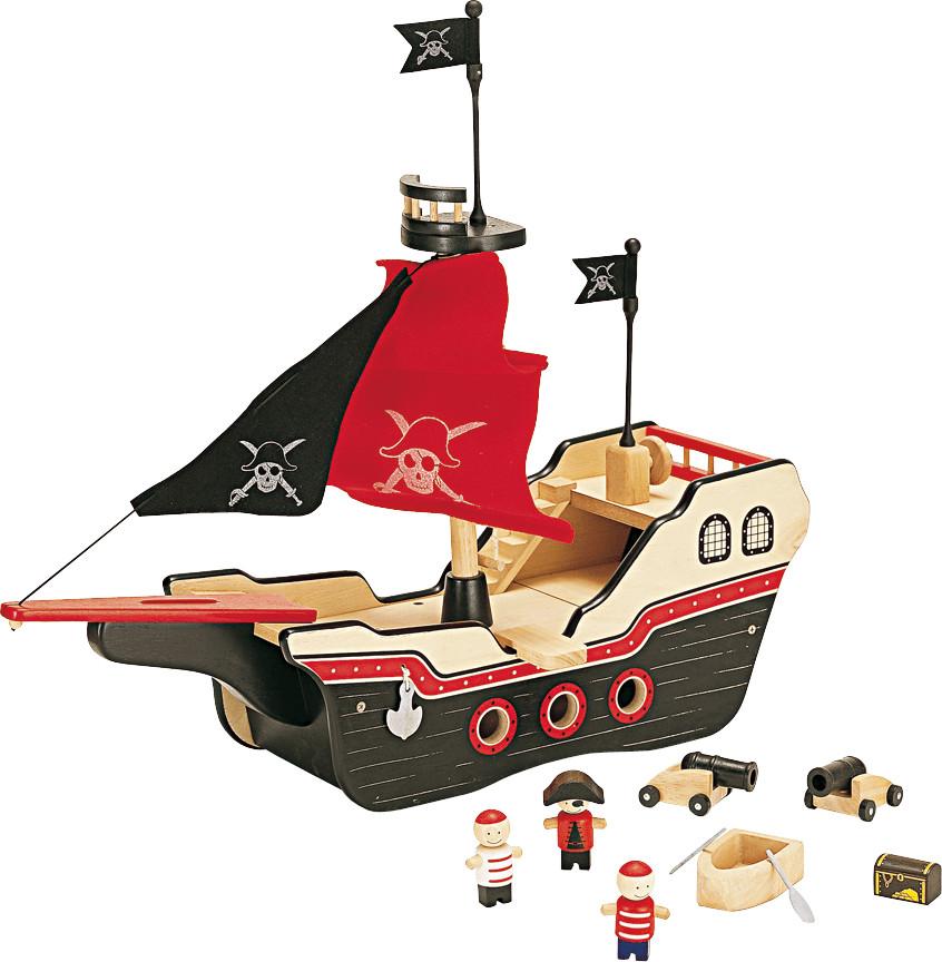 Pintoy Holz-Piratenschiff mit Zubehör