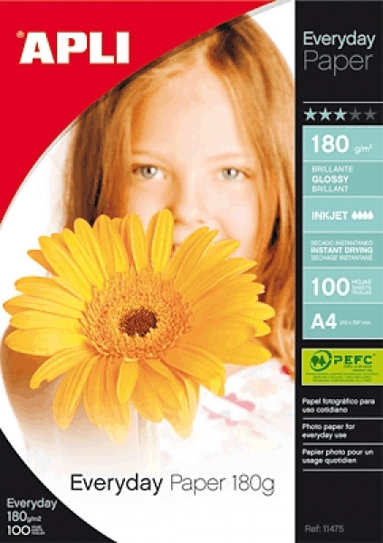 Image of APLI Everyday Paper Glossy 180gsm A4 Ref 11475