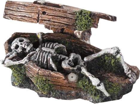 EBI Sarg mit Skelett (14,5 x 9 x 7 cm)
