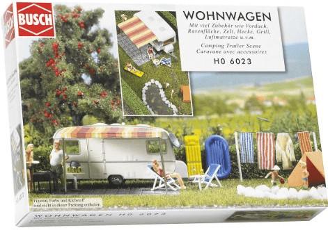 Busch Wohnwagen mit Zubehör (6023)