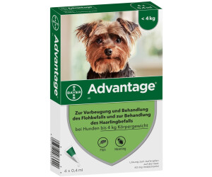 bayer advantage 40 f r hunde bis 4 kg 4 pipetten ab 15 98 preisvergleich bei. Black Bedroom Furniture Sets. Home Design Ideas