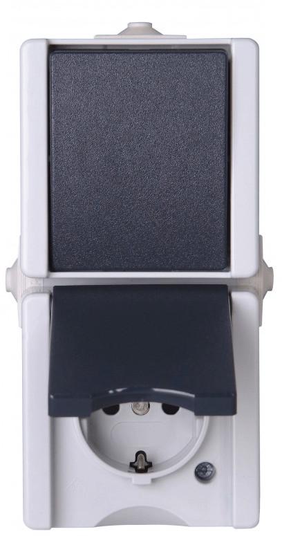 Kopp Wechselschalter + Steckdose, grau 139356003