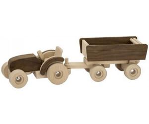 Trecker Traktor rot mit Anhänger aus Holz