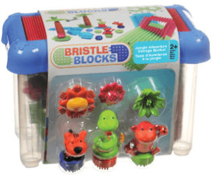 Image of Battat Bristle Blocks - 58 pieces Jungle Adventure Storage Bucket