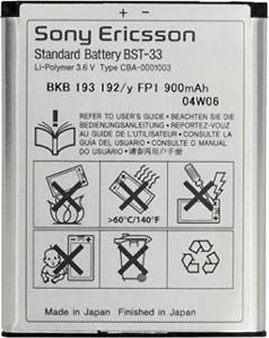 Sony-Ericsson K-Series/W-Series/Z-Series Batería (BST-33)